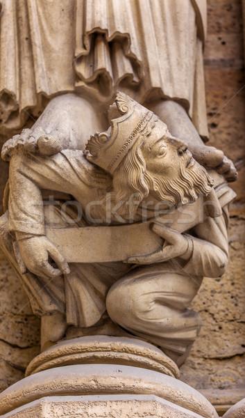 Króla fasada Katedra Notre Dame Paryż Francja Zdjęcia stock © billperry