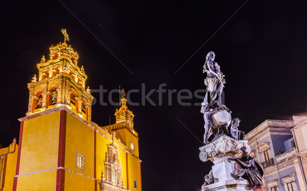 Paz Peace Statue Our Lady Basilica Night Guanajuato Mexico  Stock photo © billperry