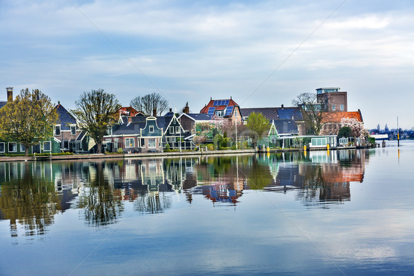 Rivier dorp holland oude platteland landschap Stockfoto © billperry