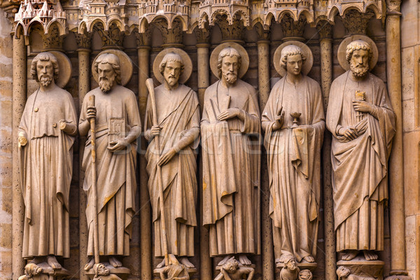 Biblical Saint Statues Door Notre Dame Cathedral Paris France Stock photo © billperry