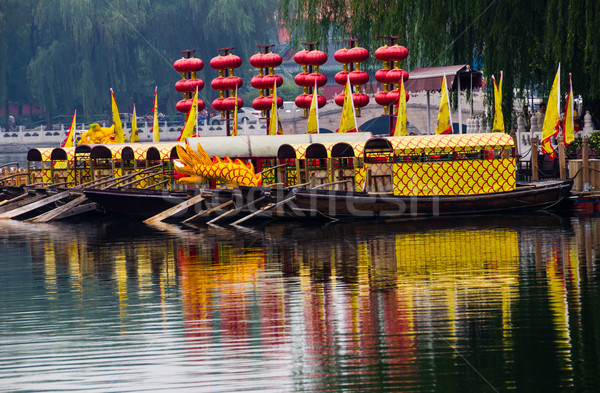 Houhai Lake Tourboats Beijing, China Stock photo © billperry