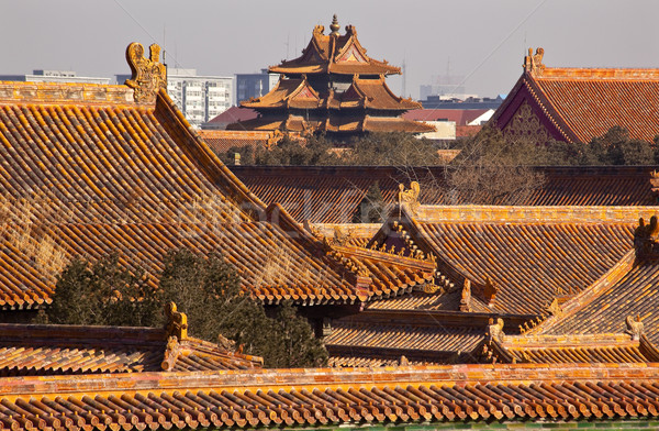 Watch Tower Forbidden City Yellow Roofs Gugong Palace Beijing Ch Stock photo © billperry