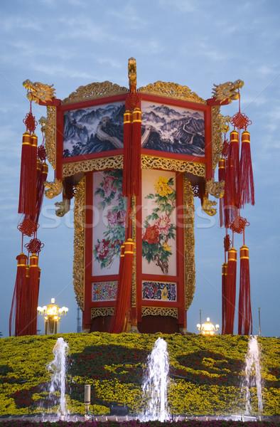 большой китайский фонарь украшение квадратный Пекин Сток-фото © billperry