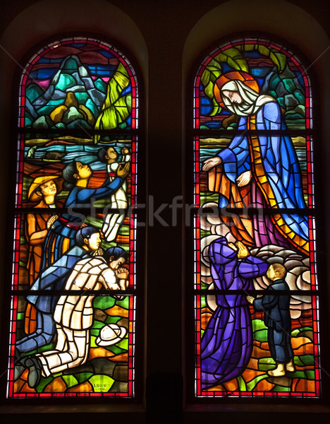 Virgin Mary Stained Glass Notre Dame Cathedral Saigon Vietnam Stock photo © billperry