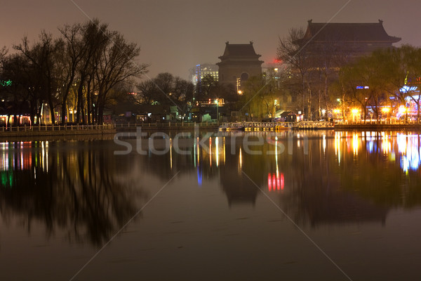 Houhai Lake at Night With Drum and Bell Tower Beijing, China Tra Stock photo © billperry