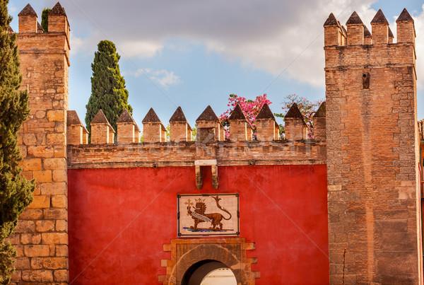 Red Front Gate Alcazar Royal Palace Seville Spain Stock photo © billperry