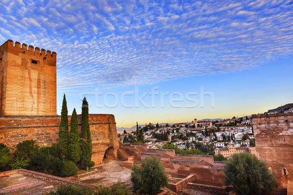 Alhambra reggel égbolt városkép templomok Spanyolország Stock fotó © billperry