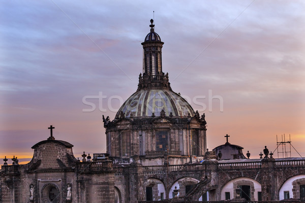 Metropolitan Cathedral Dome Zocalo Mexico City Sunrise Stock photo © billperry