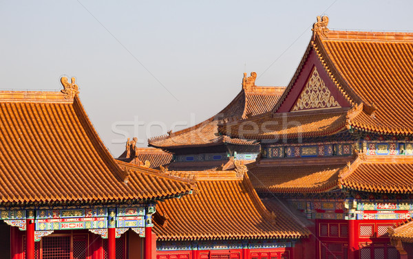 Yellow Roofs Gugong Forbidden City PalaceBeijing China Stock photo © billperry