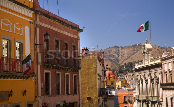Colorful Street with Flags Guanajuato Mexico Stock photo © billperry