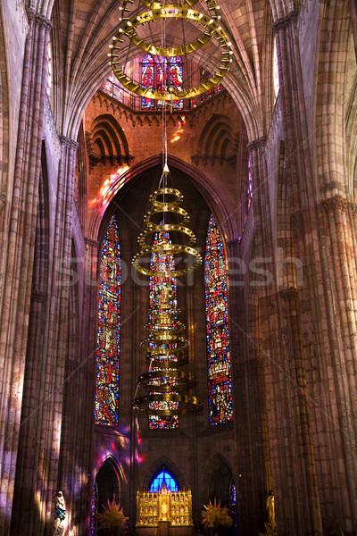 Tempio ampia view vetrate altare Foto d'archivio © billperry