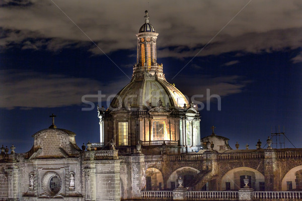 Metropolitan Cathedral Dome Zocalo Mexico City at Night Stock photo © billperry