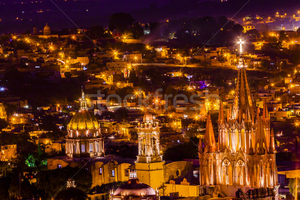 San Miguel de Allende Mexico Miramar Overlook Night Parroquia Stock photo © billperry