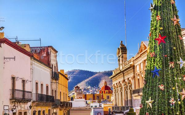 Kleurrijk straat christmas decoraties boom Mexico Stockfoto © billperry