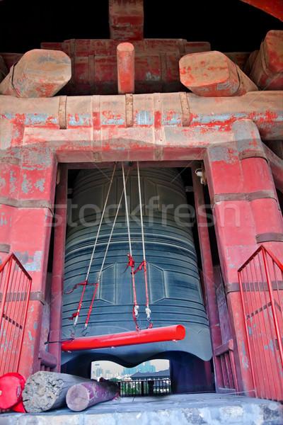 ősi piros bronz harang torony Peking Stock fotó © billperry