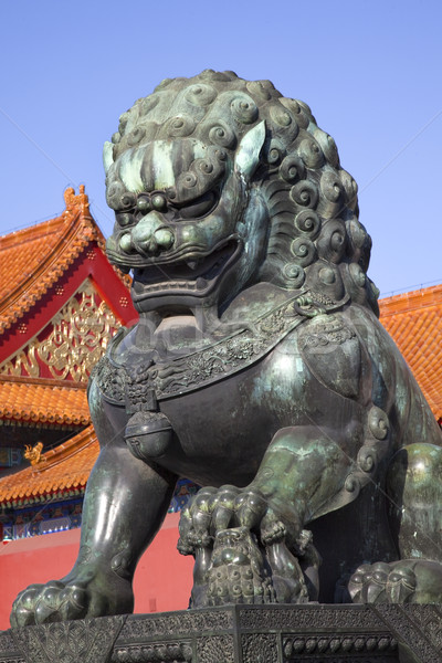 Dragon Bronze Statue Gugong Forbidden City Palace Beijing China Stock photo © billperry