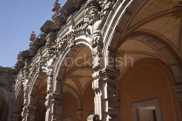 Courtyard Grey Scluptures Orange Arches Queretaro Mexico Stock photo © billperry