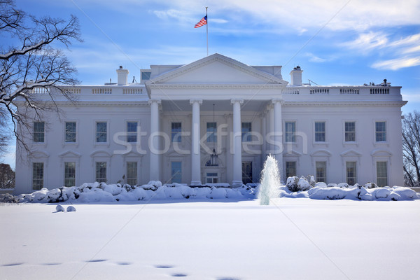White House Fountain Flag After Snow Pennsylvania Ave Washington Stock photo © billperry