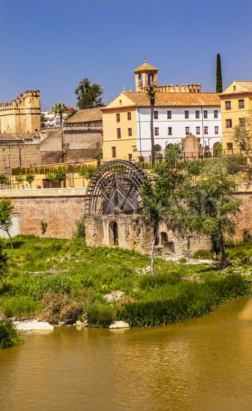 Antigo rio Espanha edifício ponte pedra Foto stock © billperry