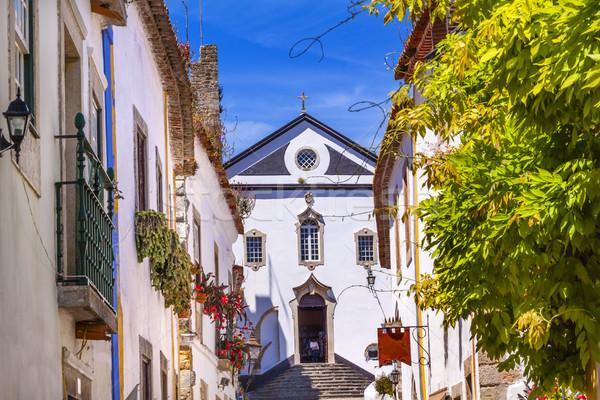 Stock photo: Sao Pedro Church Narrow White Street Obidos Portugal