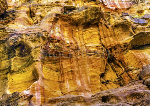 Foto stock: Amarelo · desfiladeiro · Jordânia · caminhadas