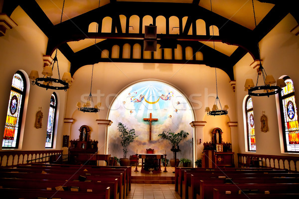 Altar Interior Cross Immaculate Conception Church Old San Diego Stock photo © billperry