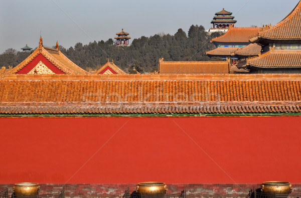 Jinshang Park from Forbidden City Yellow Roofs Red Walls Gugong  Stock photo © billperry