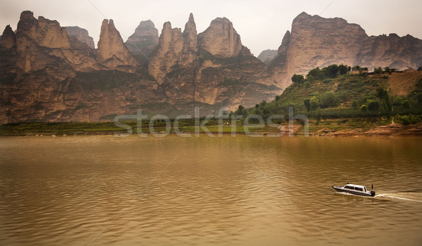 Liujiaxia Reservoir Canyon Binglin Si Buddhist Temple Lanzhou Ga Stock photo © billperry