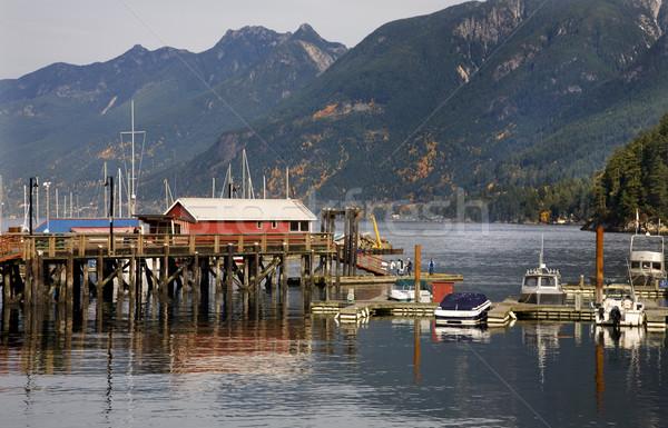 At nalı iskele yansımalar Vancouver Kanada İngilizler Stok fotoğraf © billperry