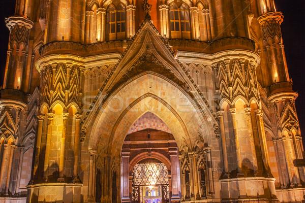 Facade Parroquia Christmas Archangel Church Night San Miguel de  Stock photo © billperry