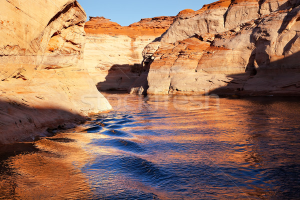 Orange Antelope Canyon Blue Water Reflection Lake Powell Arizona Stock photo © billperry