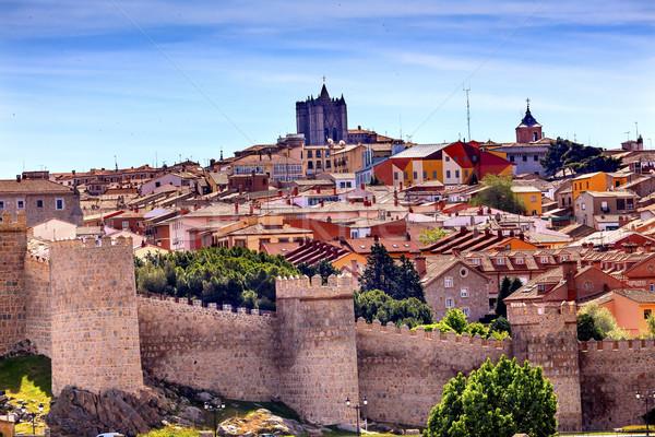 Avila Castle Walls Ancient Medieval City Cityscape Castile Spain Stock photo © billperry