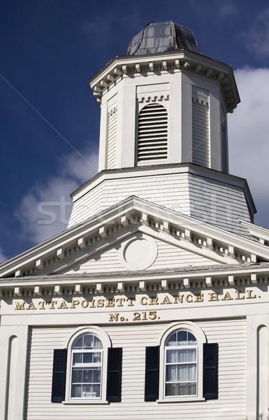 Stock photo: Grange Hall Old White Building Steeple Mattapoisett Massachusett