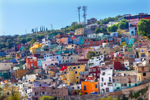 Wiele kolorowy domów Meksyk pomarańczowy niebieski Zdjęcia stock © billperry