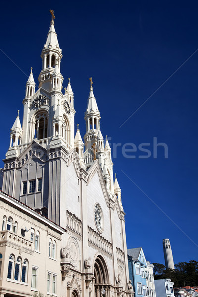 Stock photo: Saint Peter Paul Catholic Church Steeples Coit Tower San Francis