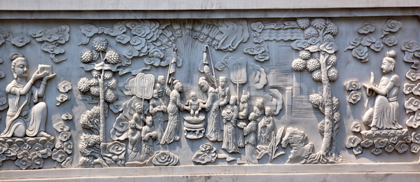 Stone Buddhist Panel Jing An Temple Shanghai China Stock photo © billperry