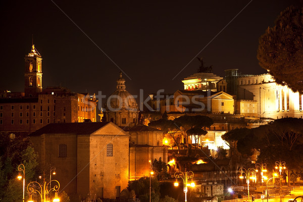 Forum colline nuit Rome Italie bâtiment Photo stock © billperry