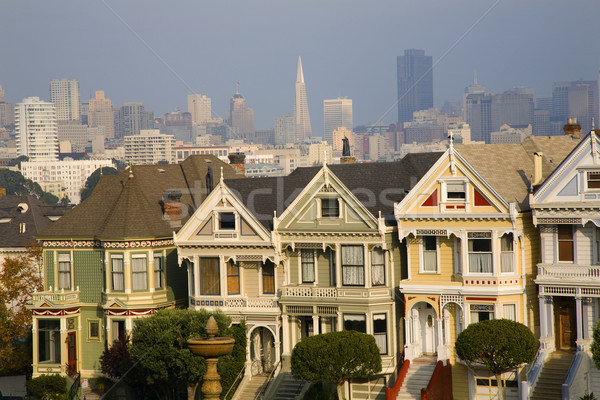 Victorian Houses Modern Skyscrapers San Francisco Skyline Califo Stock photo © billperry