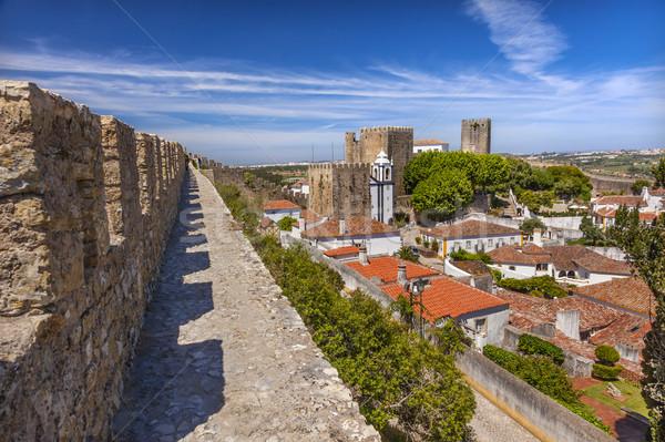 Sao Pedro Church Orange Roofs Castle Walls  Obidos Portugal Stock photo © billperry