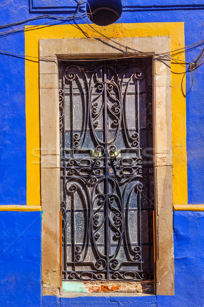 Iron Blue Yellow Door Guanajuato Mexico Stock photo © billperry