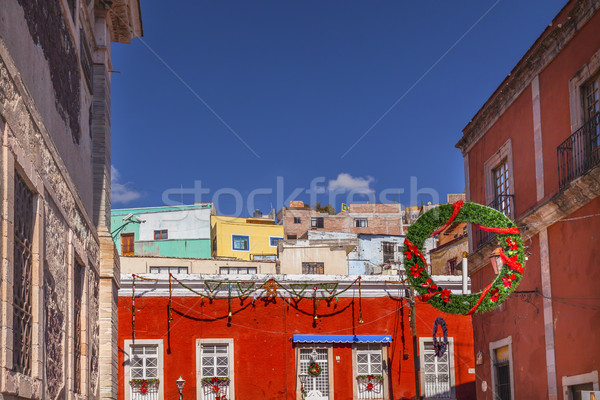 Red Colored Building Christmas Decorations Alhondiga De Granadit Stock photo © billperry
