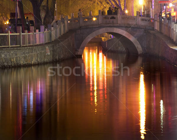 Silver Ingot Bridge Night Houhai Lake Beijing, China  Stock photo © billperry