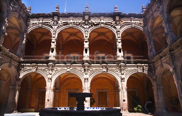 Fountain Courtyard Orange Arches Sculptures Queretaro Mexico Stock photo © billperry