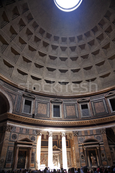 3pm Pantheon Sundial Effect Cupola Ceiling Hole  Rome Italy Stock photo © billperry