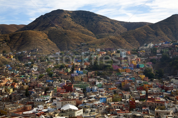 Stock photo: Many Colored Houses Guanajuato Mexico Hill Blue Sky
