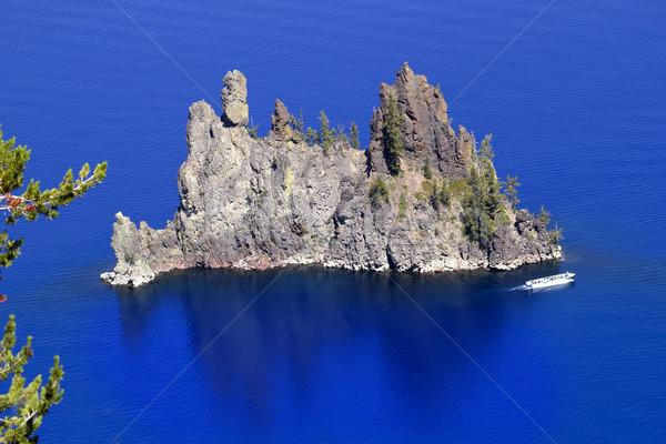 Phantom Ship Island Blue Crater Lake Reflection White Boat Orego Stock photo © billperry
