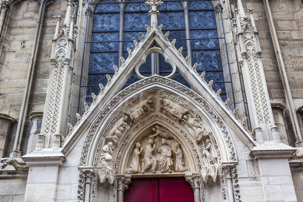 Biblical Statues Little Red Door Notre Dame Cathedral Paris Fran Stock photo © billperry