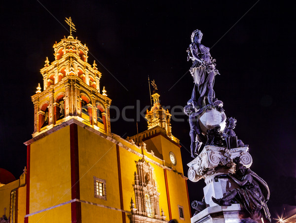 Paz Peace Statue Our Lady Basilica Night Stars Guanajuato Mexico Stock photo © billperry