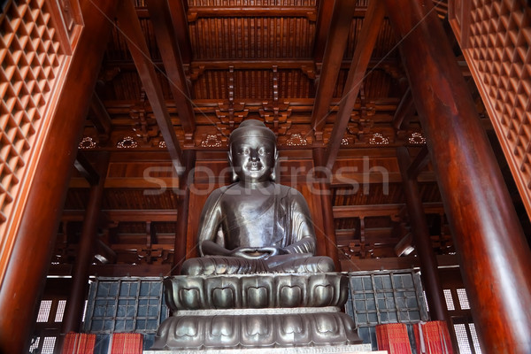 Silver Buddha in Wooden Hall Jing An Temple Shanghai China Stock photo © billperry