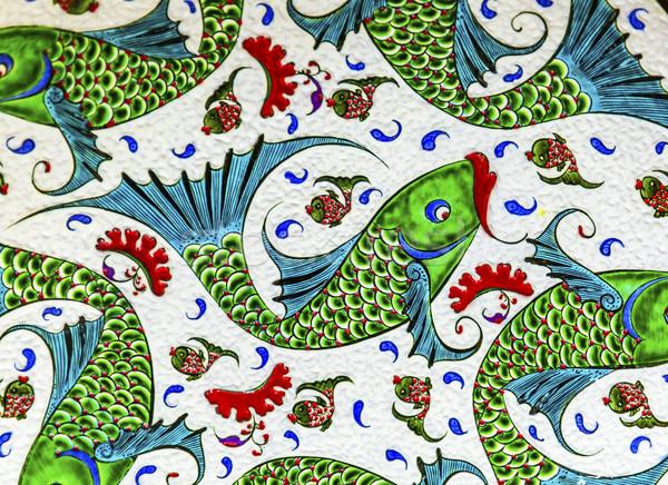 Oude arab vis ontwerpen aardewerk Jordanië Stockfoto © billperry